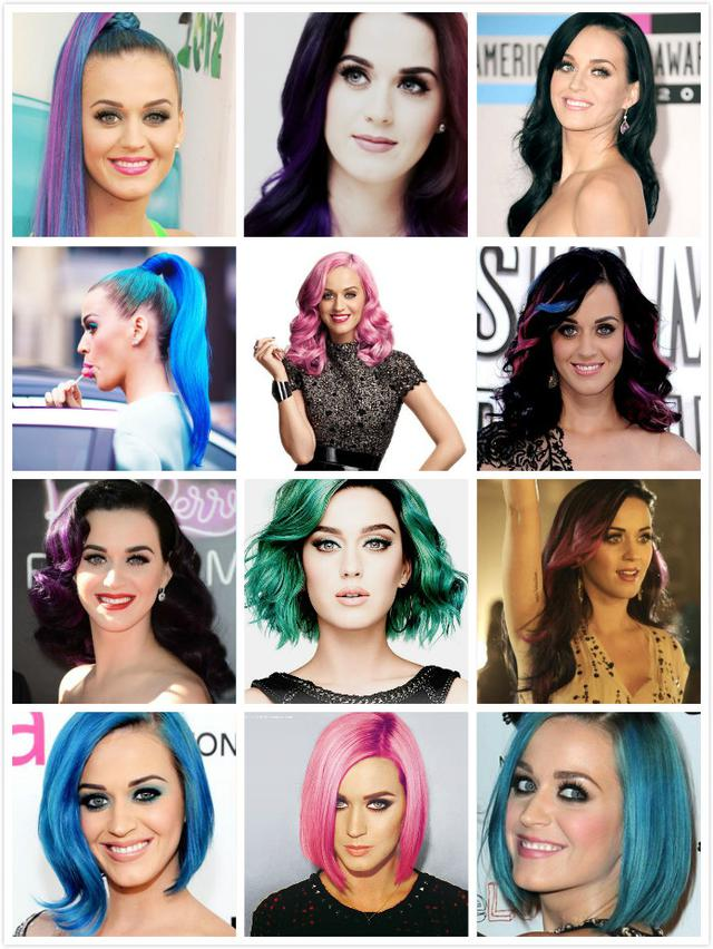 Katy Perry is the second person if the toss hair color, then nobody can say first. Every few days to change color, and very exciting!