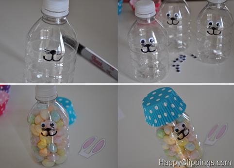 DIY de Páscoa Coelhinhos com garrafa Pet