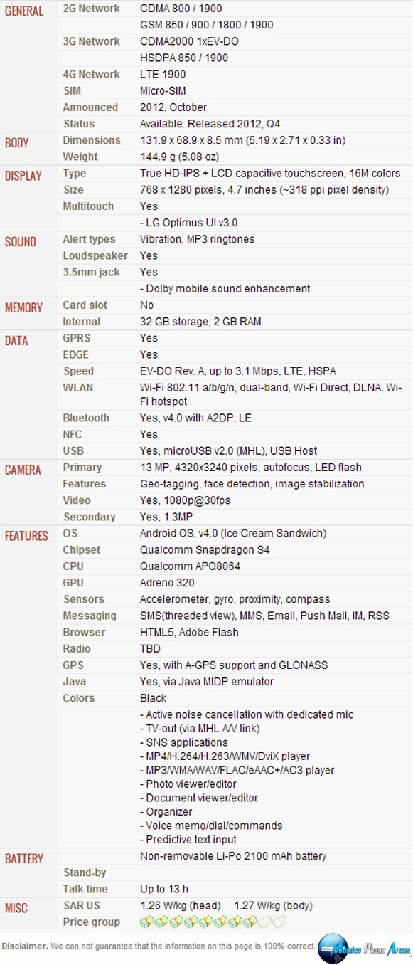 LG Optimus G LS970 - Full phone specifications Pic