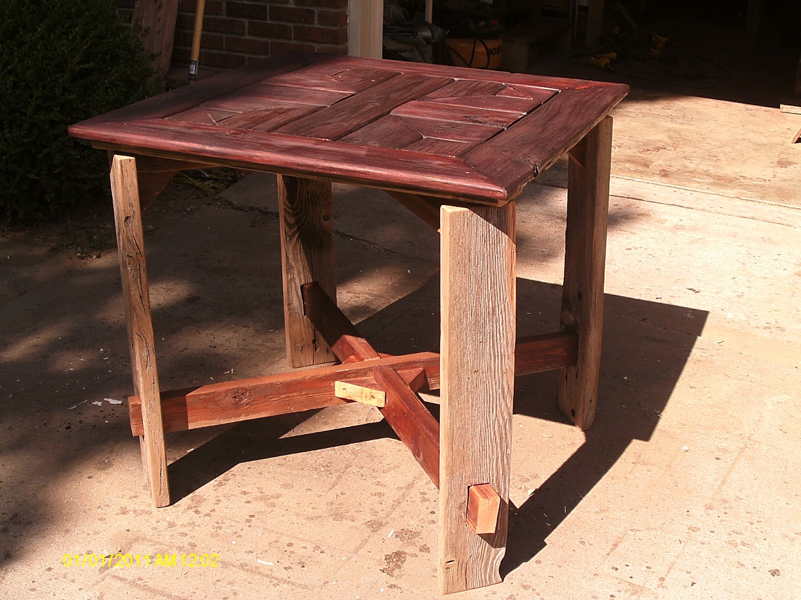 I Used Over 100 Year Old Barnwood Boards For The 4 Legs, Reclaimed 2 X 4u0027s  From A Fence For The Cross Beams On The ...