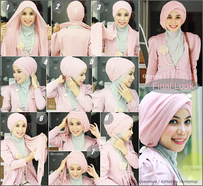 Tutorial cara memakai jilbab turban dengan jilbab paris segi empat