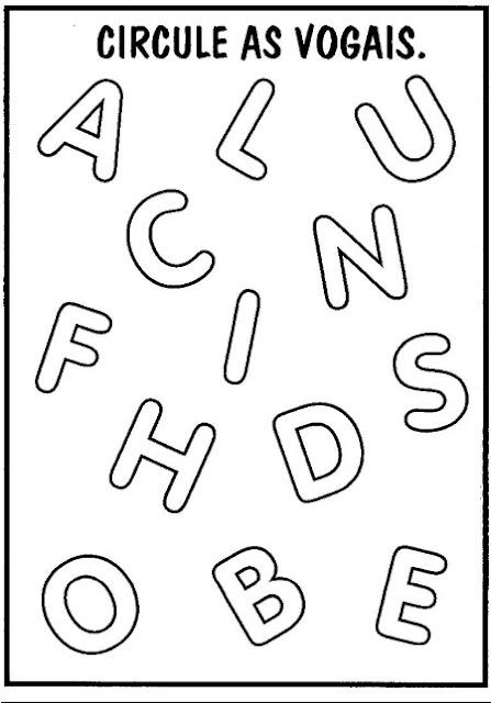Atividades com Vogais - Circule as vogais