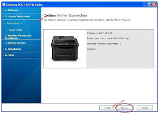Samsung SCX-4623FW wireless printer configuration and installation of Samsung SCX-4623fw on a wireless network the solution to the problem of installing