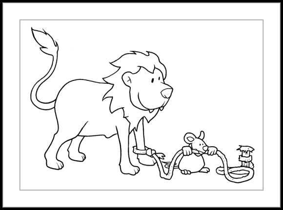El leon y el raton para colorear - Imagui