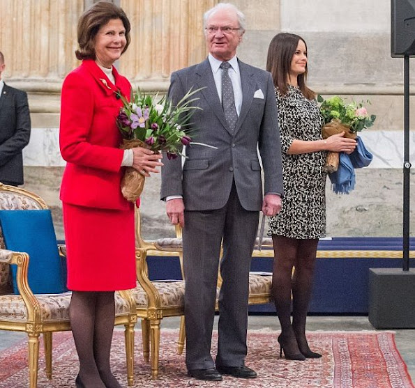 King Carl Gustaf, Queen Silvia and Princess Sofia of Sweden attended a concert at the Royal Palace in Stockholm.