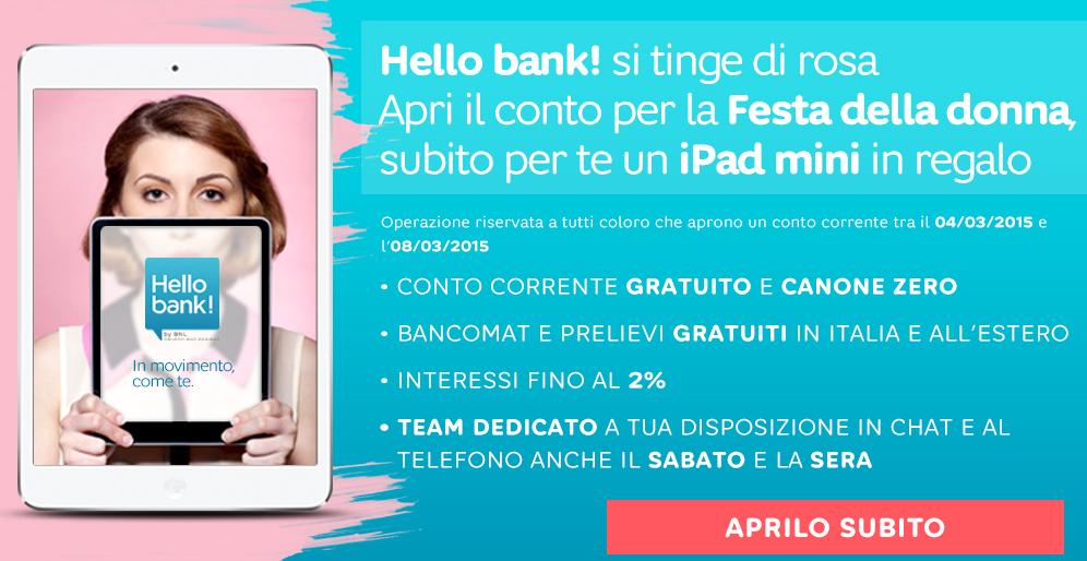 Hello Bank regala l'iPad Mini