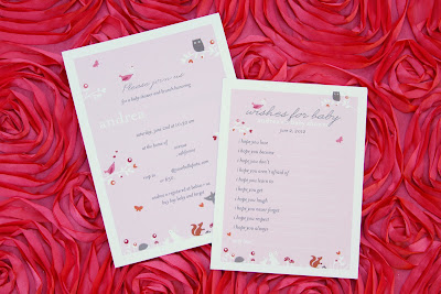 for baby which each guest was asked to fill out for the new mom