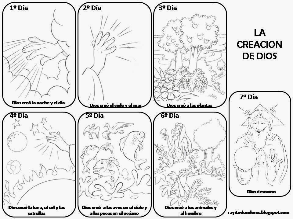 La Creación de Dios para Colorear ~ Dibujos para Niños