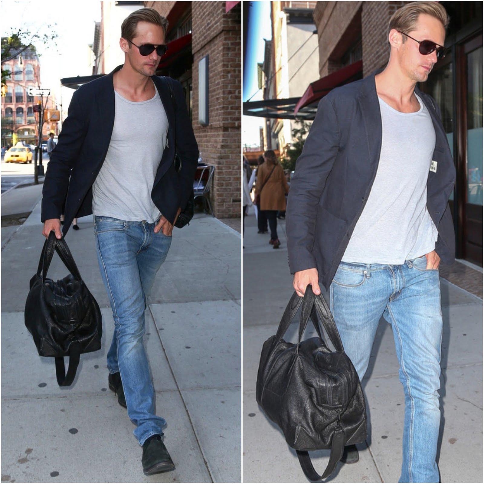 00O00 Menswear Blog: Alexander Skarsgard's Alexander Wang 'Wallie' Duffle - New York Street Style May 2013