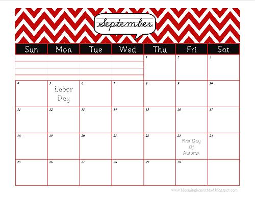 This just in...September Calendar free Printable - Blooming Homestead