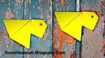 cara membuat origami yang mudah untuk anak TK, SD, dan pemula berbentuk ikan mas koki
