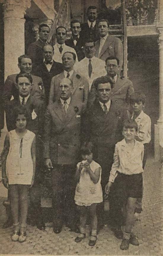 EM 1931 ARTHUR BERNARDES, VIRGILIO DE MELO FRANCO E DR BIAS FORTES NO SOLAR DA FAMILIA BIAS