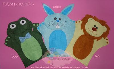 fantoches-feltro-bichos-animais-sapo-leão-coelho-coelha-infantil-lembrancinha-brinde