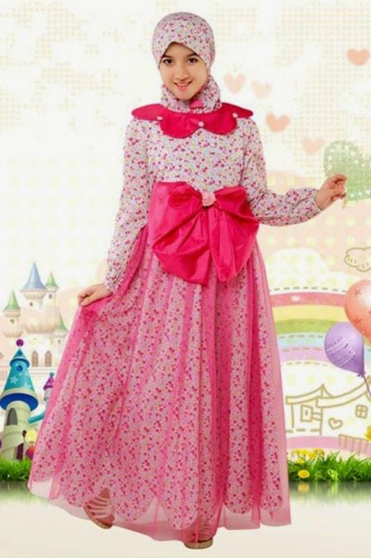 Baju muslim anak perempuan model terbaru warna pink gratis