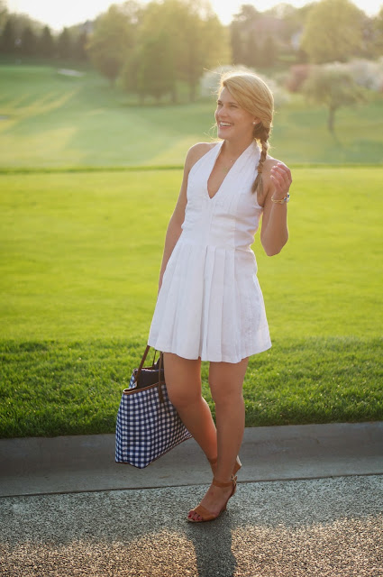 Gingham tote and white linen dress