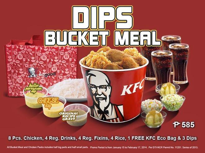 favorite KFC chicken will surely enjoy the new KFC Dips Bucket Meal    Kfc Bucket Meal