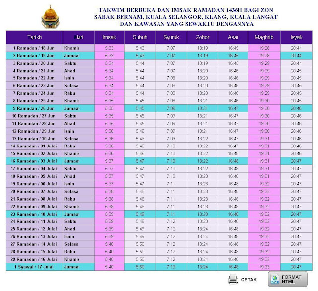 Jadual Waktu Berbuka Puasa Dan Imsak 2015 1436H Malaysia