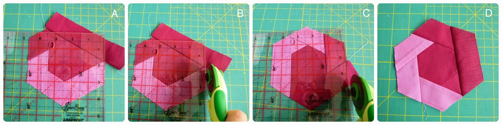 How to sew a log-cabin hexagon - can look like flowers or a great use of scraps.