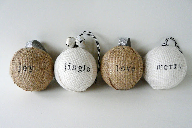 Make stamped burlap ornaments