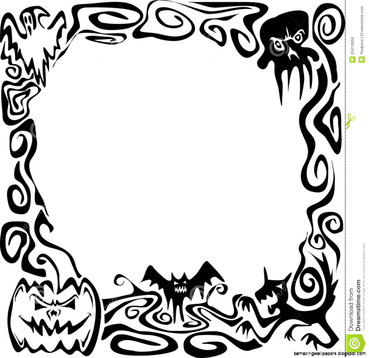 Black And White Halloween Border Clip Art  Clipart Panda   Free