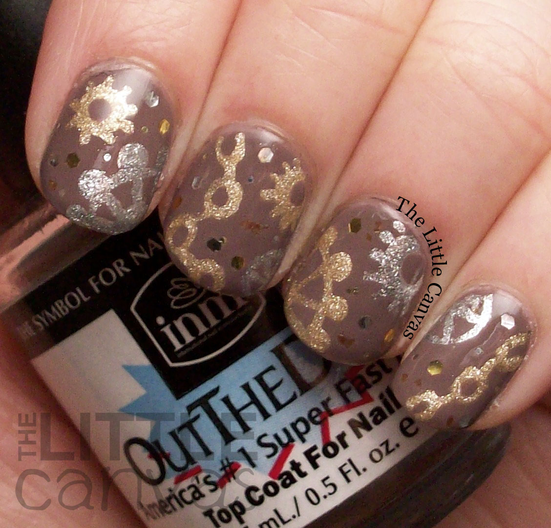 The beauty buffs metallic steampunk nail art the little canvas i love doing art with metallicfoil polishes on a cream base they really stand out and add a whole new dimension to the art im very happy that my friend prinsesfo Gallery
