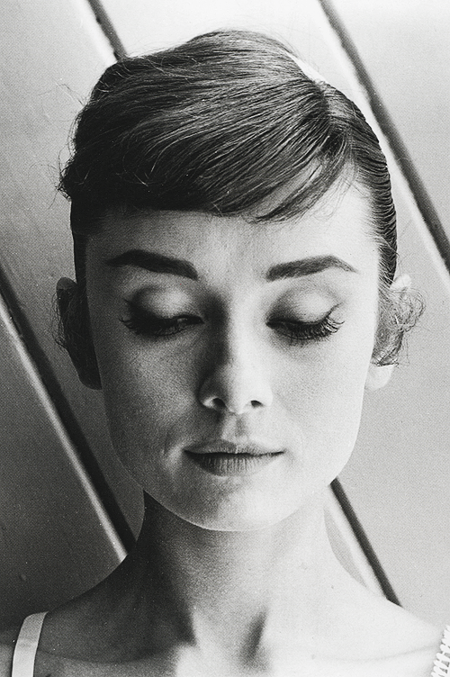 Audrey hepburn in hair test shots for 'war and peace', 1955
