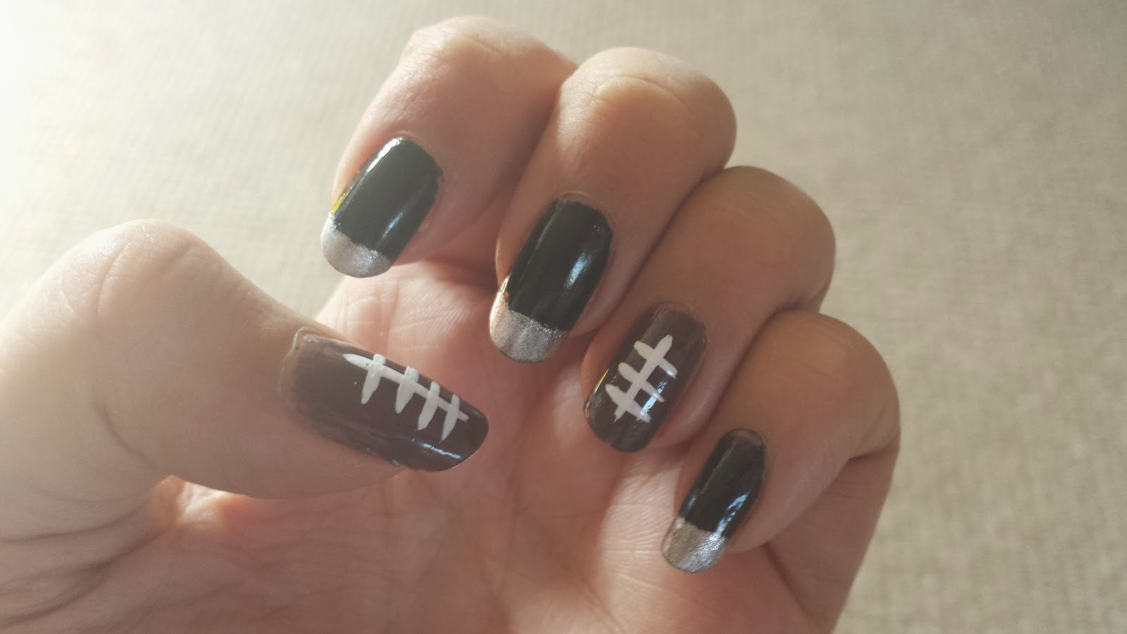 The Possibility of Dreams: Nail Design:- NFL Raiders Nails.