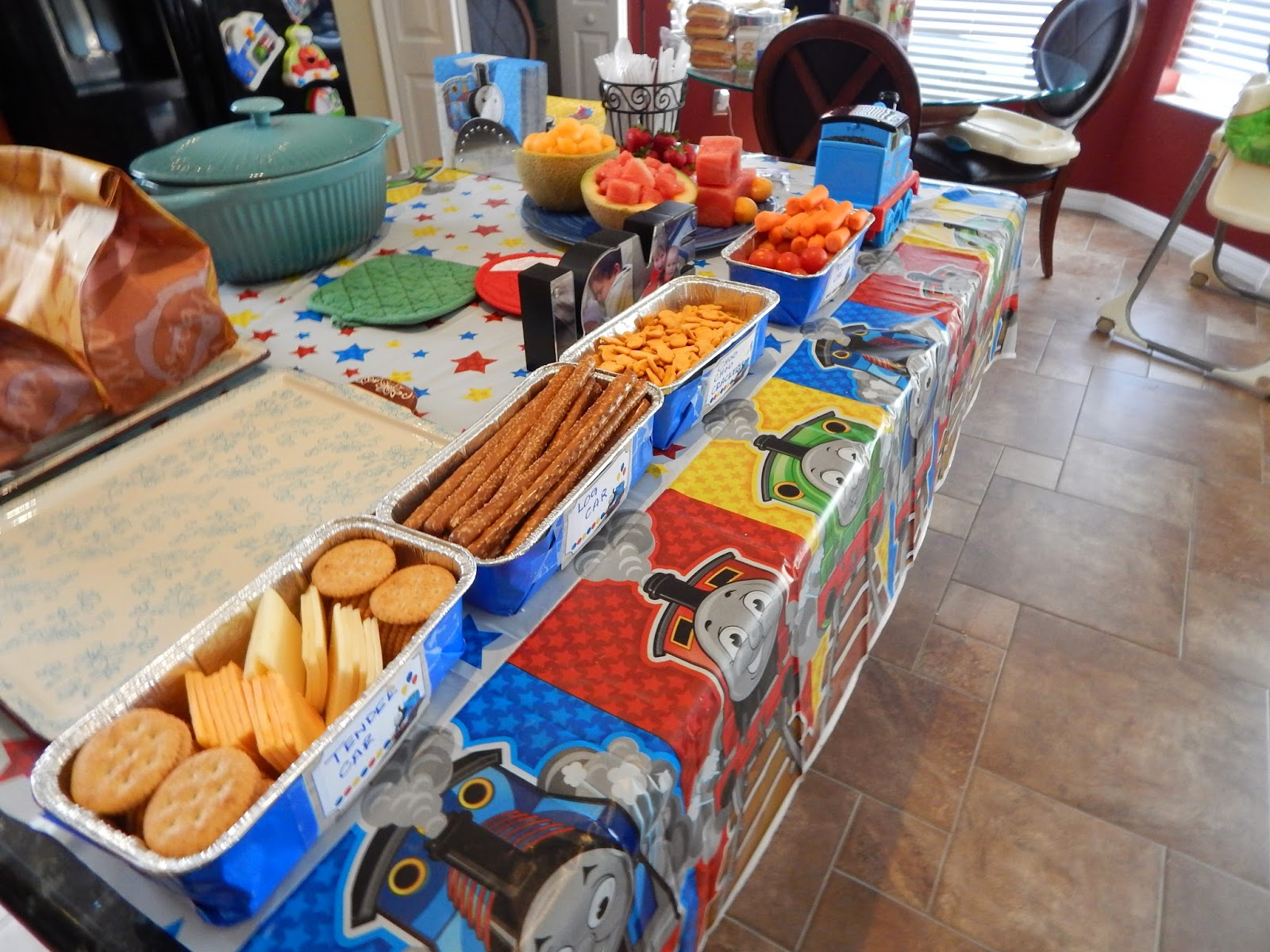 The Food Table I Made A Snack Train And Put Thomas In Front There Was Produce Car Choo Crackers Log Tender Also Fruit