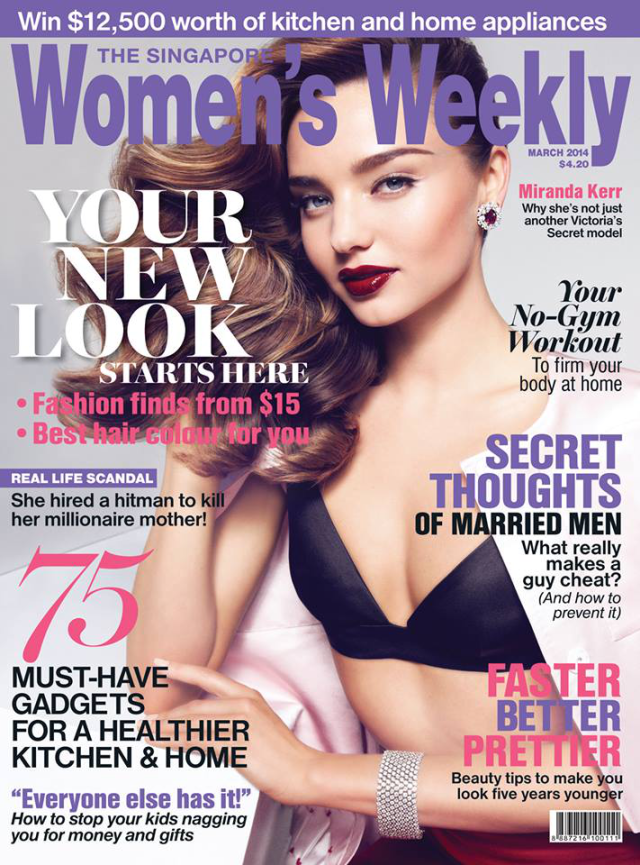 Miranda Kerr portada de la revista The Singapore Women's Weekly Marzo 2014