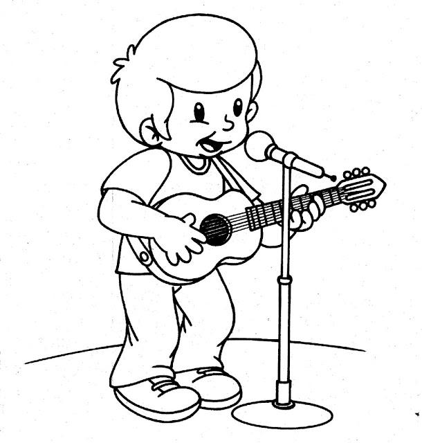 desenho para colorir cantor