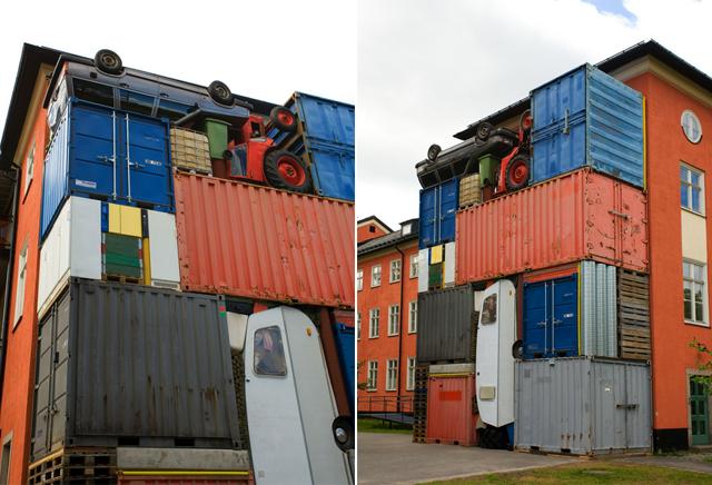 Sueco faz escultura com carro, trator, paletes, contêiners e geladeiras [fotos]