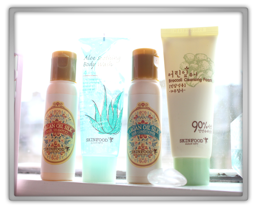 Jolse Special Korean cosmetics gift haul review 2015 skinfood happy wash kit broccoli foam aloe soothing wash Argan oil silk shampoo conditioner 1