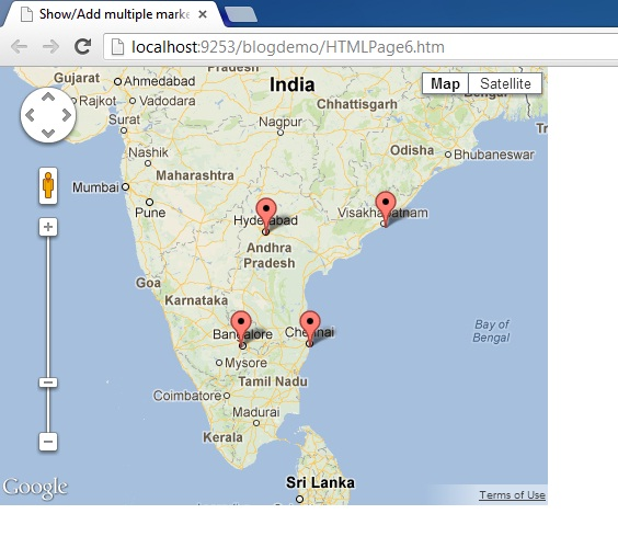 How To Add Multiple Markers to Google Maps V3 using JSON with JavaScript in Website HTML c# Asp.Net