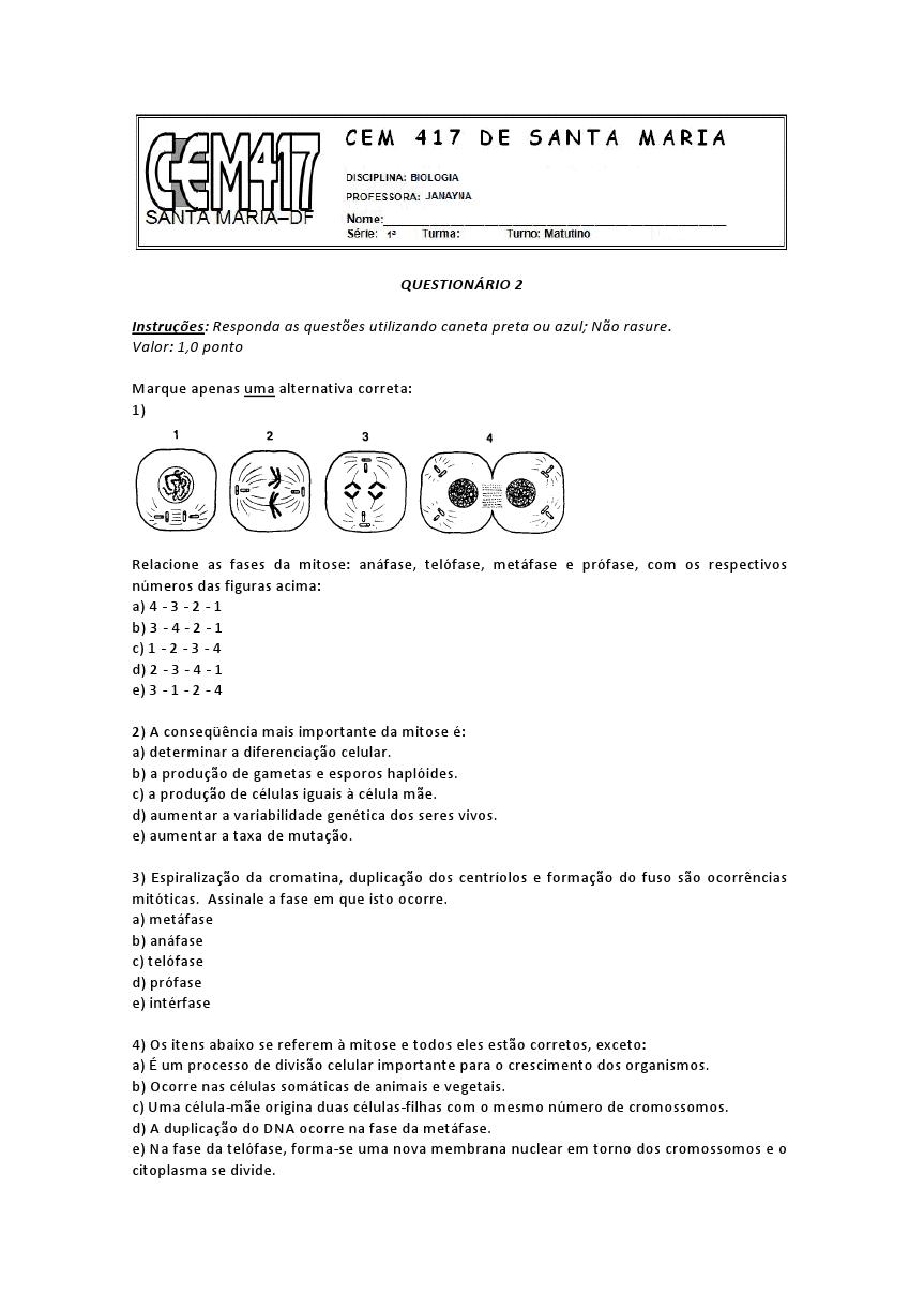 Atividades de biologia 1 ano ensino médio