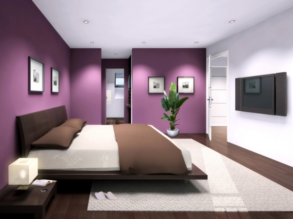 Art d co couleur chambre for Chambre prune et blanc