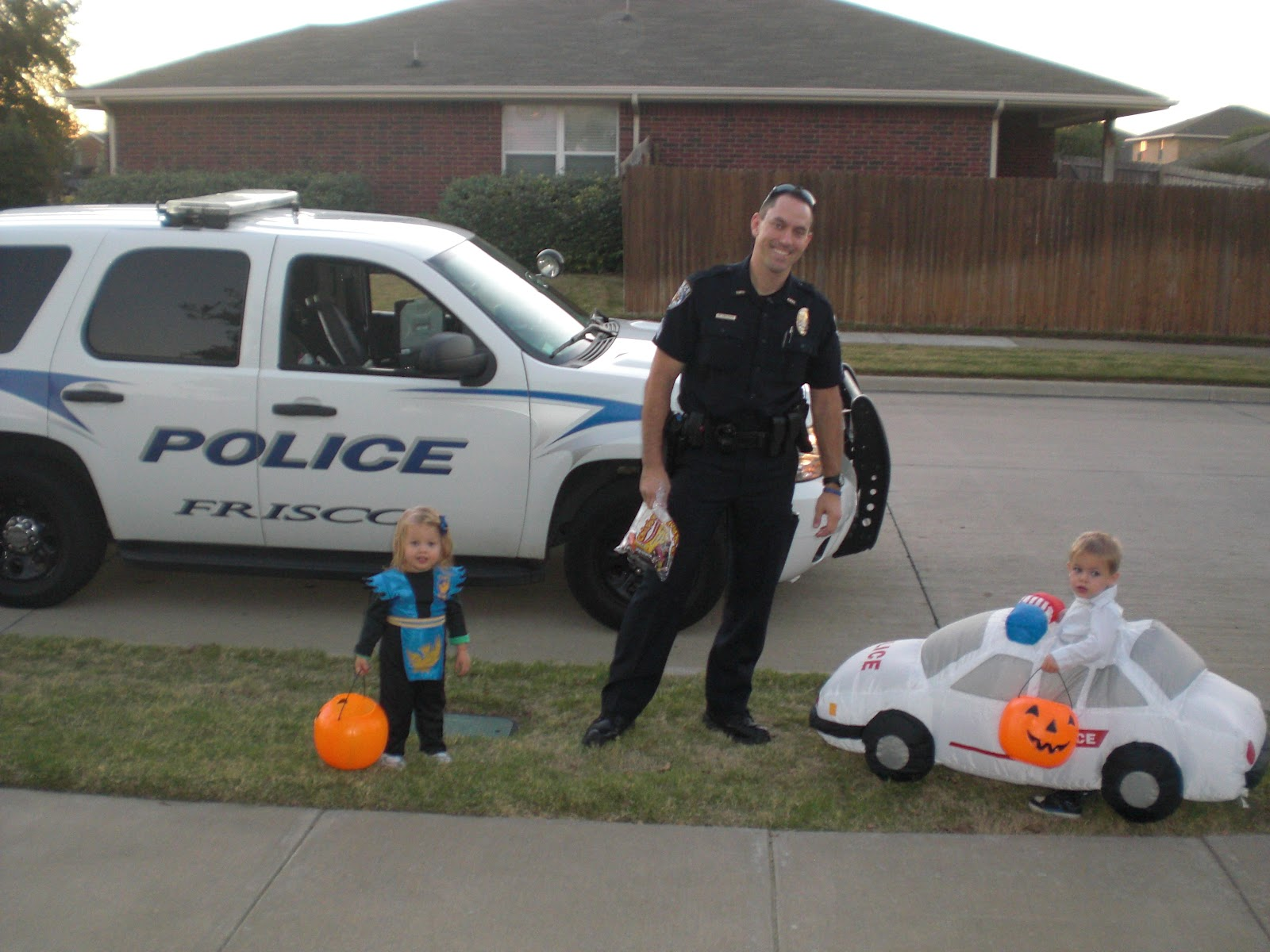 Sweet son is a police car. It actually has working lights and siren. What do you do for a kid who bumps into everything? Wrap him in an inflatable costume.  sc 1 st  Parenting with Research & Parenting with Research: Happy Halloween!
