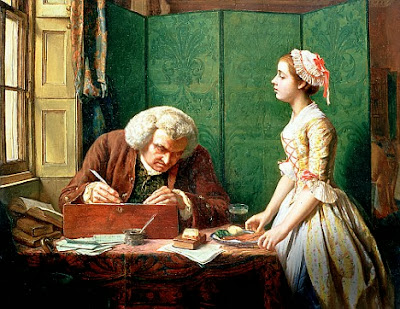 """Dr. Samuel Johnson works on his dictionary which will ultimately define oatmeal as """"a grain which in England is generally given to horses but in Scotland, supports the people."""""""