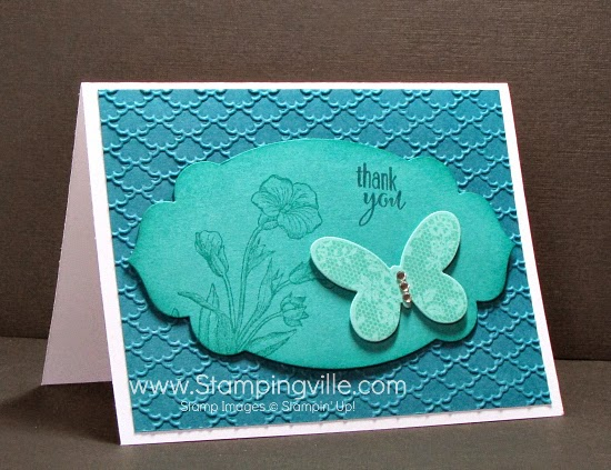 Thank You card in shades of teal (Coastal Cabana, Bermuda Bay, Island Indigo). #cardmaking #papercrafts #StampinUp