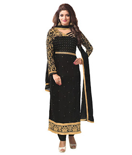 Reya Black Faux Georgette Unstitched Dress Material