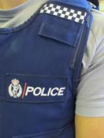 Closeup of a New Zealand bulletproof police vest.