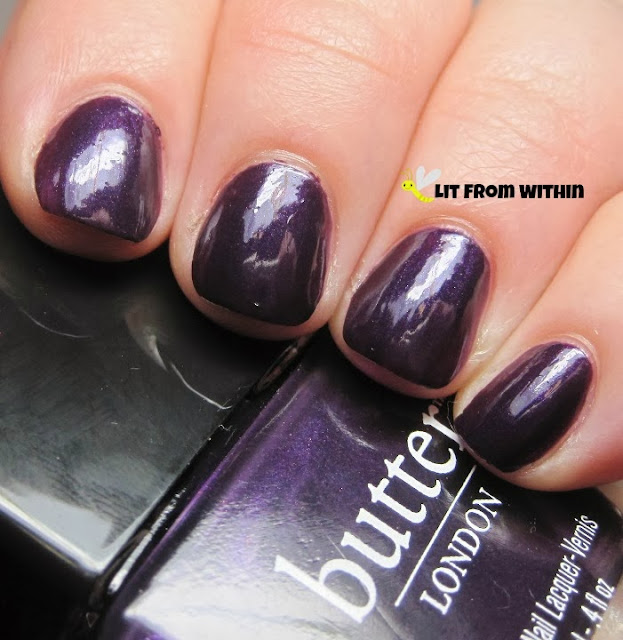 Butter London Pitter Patter, a metallic, royal purple.