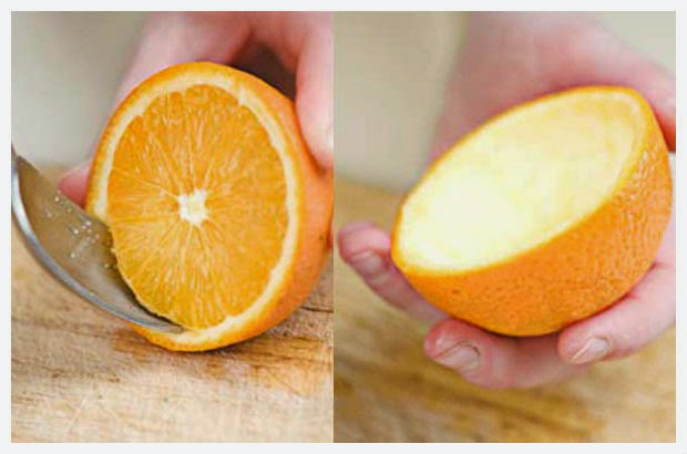 Vela artesanal de casca de laranja
