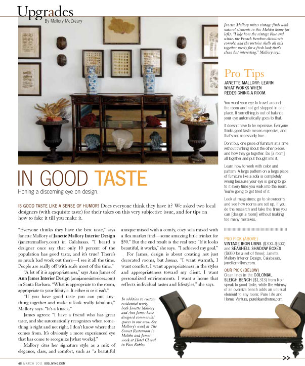 Janette Mallory 39 S Interior Design Inc Blog 805 Living Magazine In Good Taste Article
