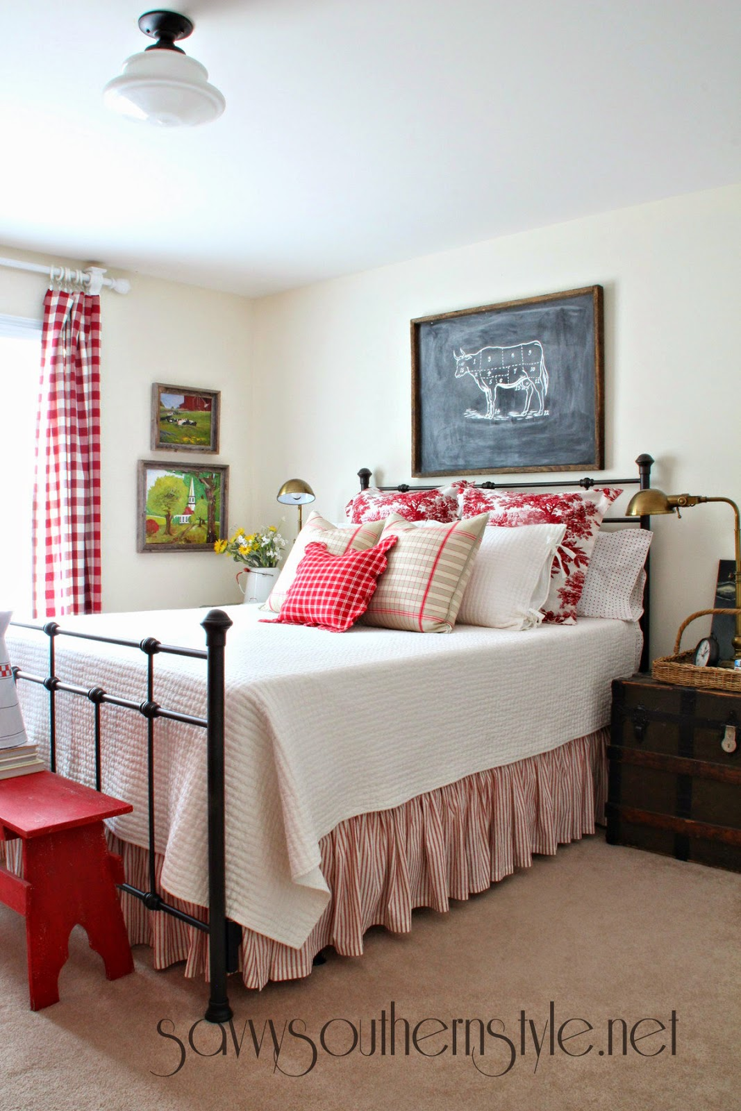Savvy southern style mid summer farmhouse style guestroom for Farmhouse guest bedroom