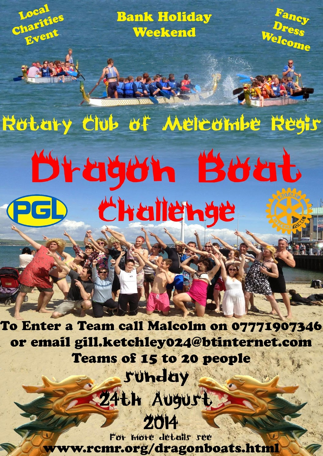 Dragon Boat Racing Challenge Weymouth Beach Sunday 24th August 2014