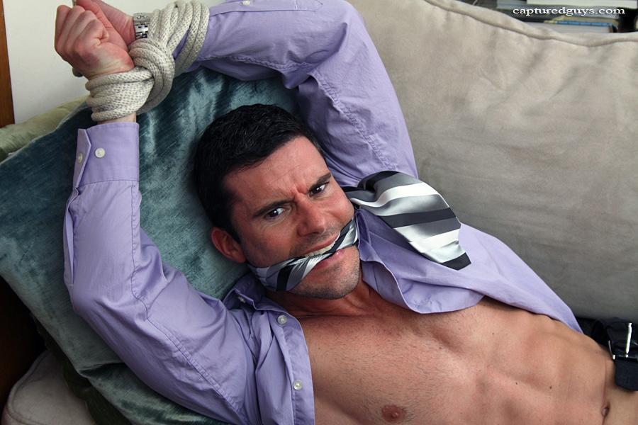 Captured male bondage tied up