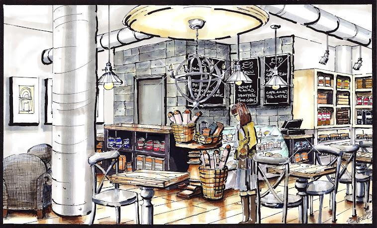 Sketch of Coffee Shop Interior Design