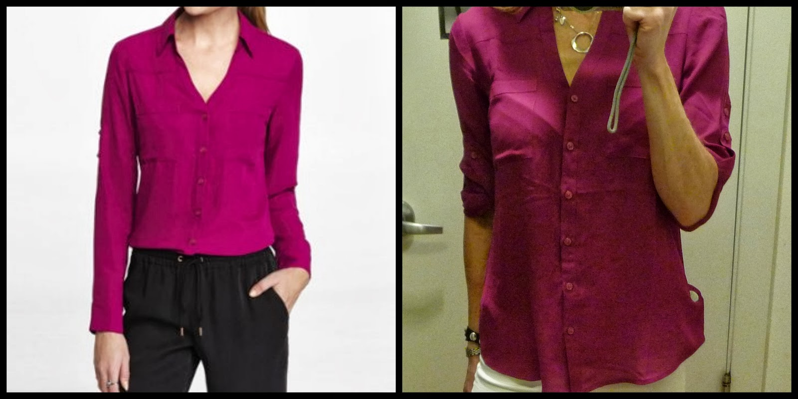 Express Portofino shirt, top, blouse, wild orchid, pink