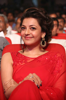 Actress Kajal Agarwal Latest Pictures in Red Saree at Govindudu Andarivadele Movie Audio Launch  022.jpg