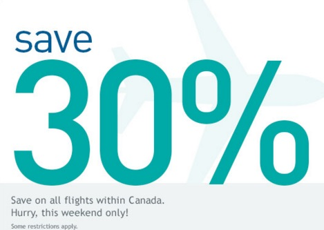 Westjet Save 30% Off Flights Within Canada Promo Code